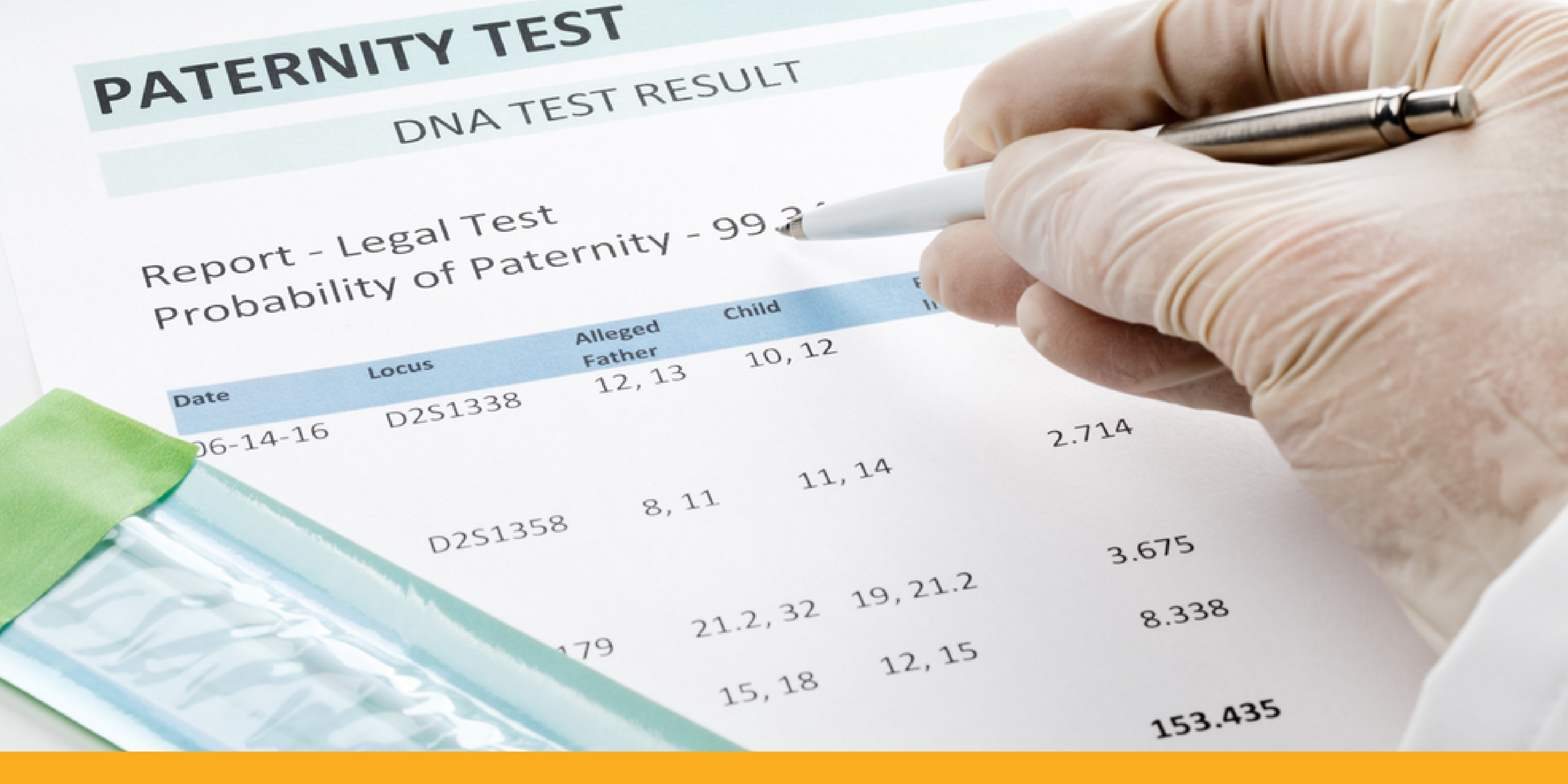 Example of paternity test results