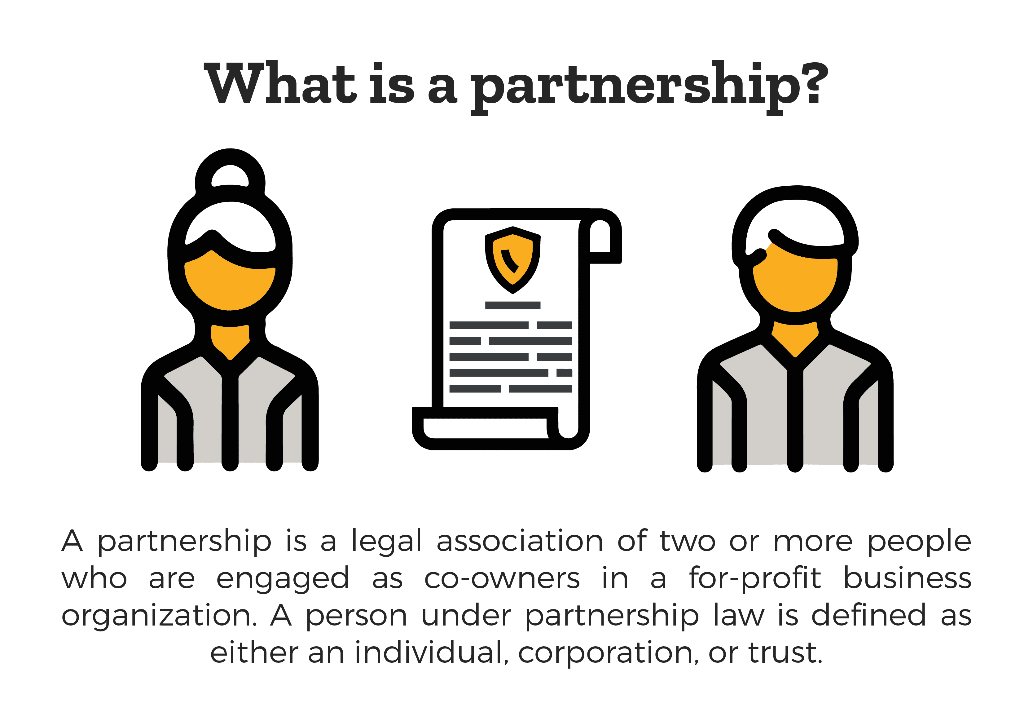 What Is a Business Partnership? - a business partnership is a legal association of two or more people who are engaged as co-owners in a for-profit business organization. A person under business partnership law is defined as either an individual, corporation, or trust.